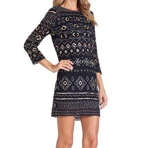 NEEDLE & THREAD Lace Stitch Dress Sz 2 Navy/Black